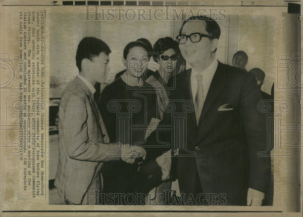1970 Press Photo Nationalist Chinese Ambassador Hsu Shao Chang  Formosa Rome fly - Historic Images