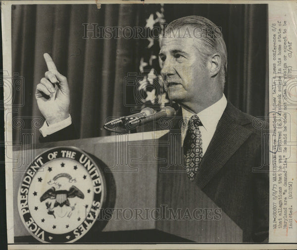 1973 Press Photo Vice President Agnew Washington Maryland state home allegations - Historic Images