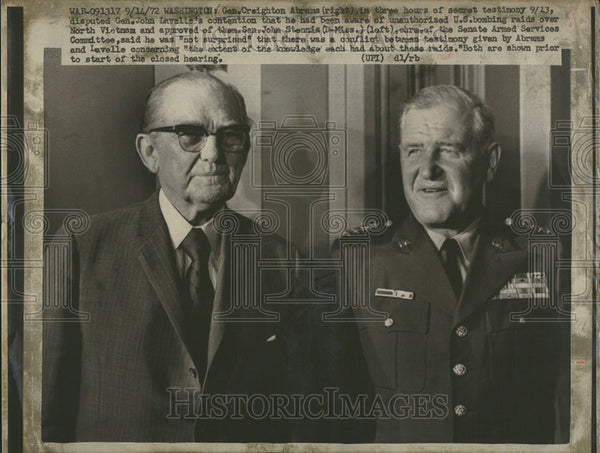 1972 Press Photo Gen Creighton Abrams John Lavelle Washington Senator John - Historic Images