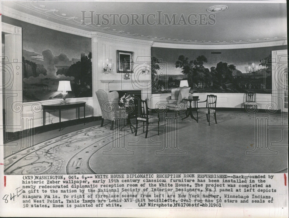 1961 Press Photo Diplomatic Reception Room/White House/Interior Decorating - Historic Images