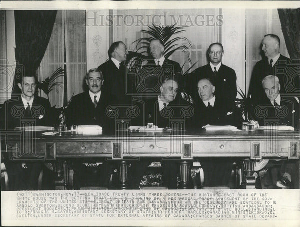 1938 Press Photo Historic Room White House trade agreement US government - Historic Images