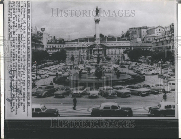 1969 Press Photo A View Of Rossio Square In Lisbon, Portugal - Historic Images