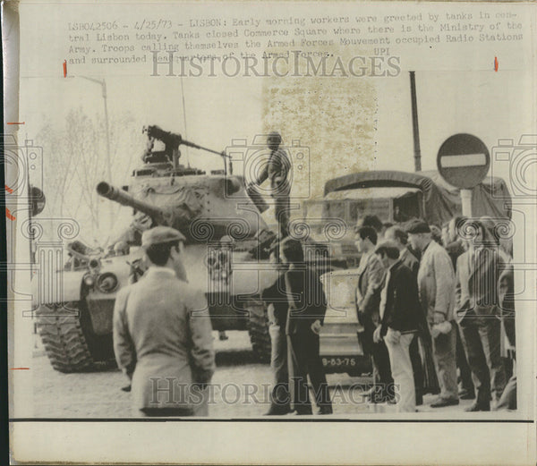 1973 Press Photo Army in a coup in Lisbon - Historic Images