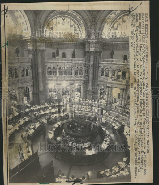 1969 Press Photo Library of Congress Building Washington D.C. - Historic Images