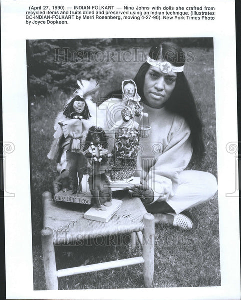 1990 Press Photo Native Americans Indian Folk Arts Crafts - Historic Images