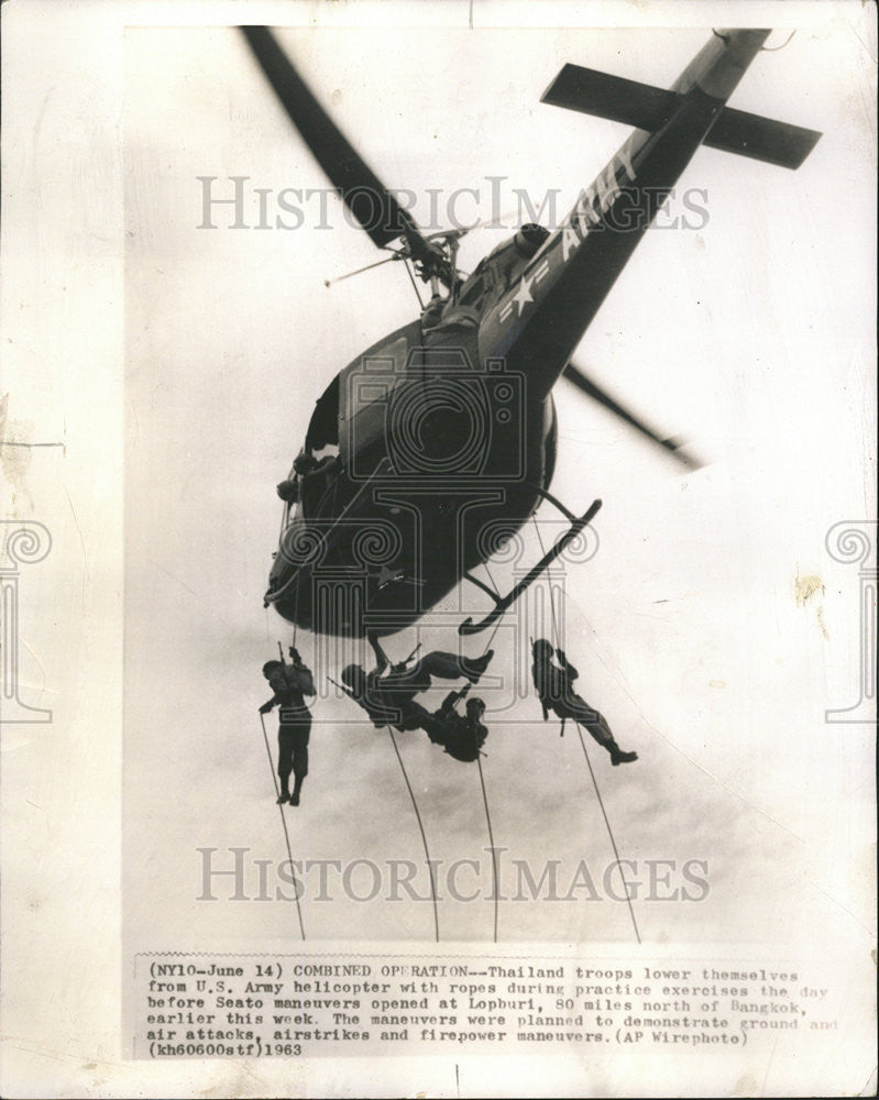 1963 Press Photo Thailand American Army Military Training Exercise