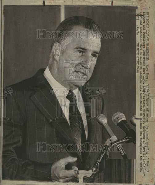 1972 Press Photo Washington Vice President Spiro Agnew UPI Editors Publishers - Historic Images