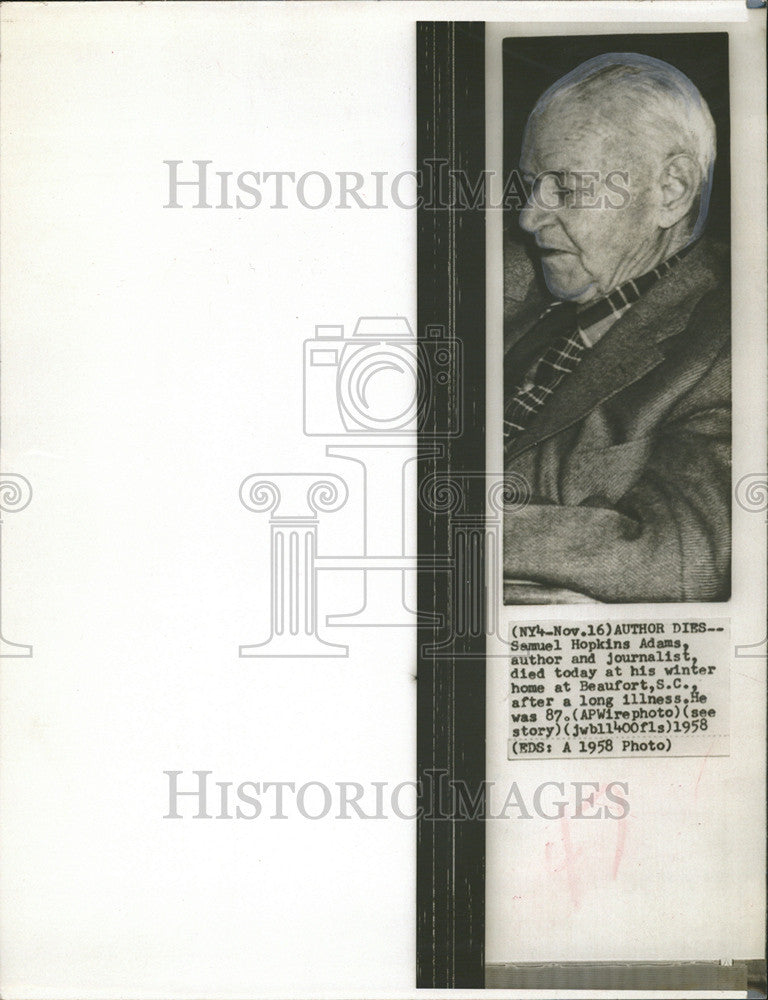 ab511f6bbd514 1958 Press Photo Samuel Hopkins Adams author journalist dies winter home -  Historic Images