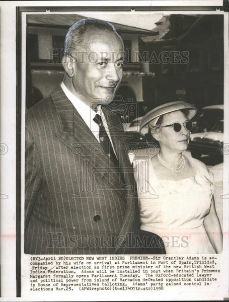 1958 Press Photo Grantley Adams Port Spain Trinidad Prime Minister - Historic Images
