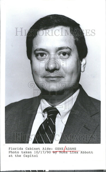 1990 Press Photo Florida State Cabinet Aide Gene Adams Photo Mona Lisa Abbott - Historic Images