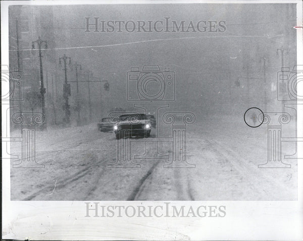 1965 Press Photo Winter Storm Grand Circus Park Woodward - Historic Images