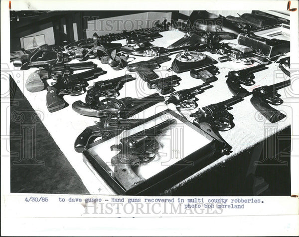 1985 Press Photo Multi County Robberies Hand Guns Recovered Bushnell - Historic Images