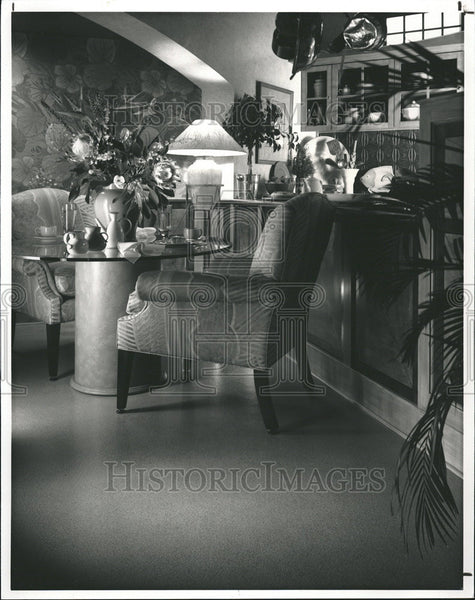 1992 Press Photo Spaces furnishings floor bear pattern reat room alcove - Historic Images