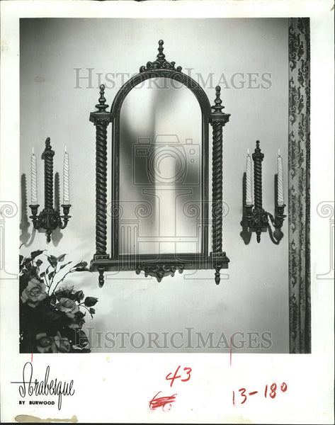 1965 Press Photo Spiral Column Embellish Roman Arch Spain Decorate Mirror Candle - Historic Images