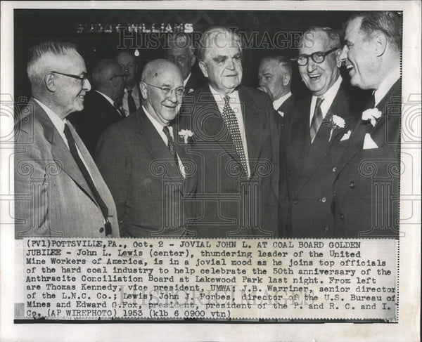 1953 Press Photo Coal Board Golden Jubilee John Lewis leader United Mine Workers - Historic Images