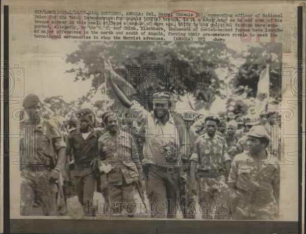 1976 Press Photo Samual Chiwale Angola troop China Elsewhere Commanding Officer - Historic Images