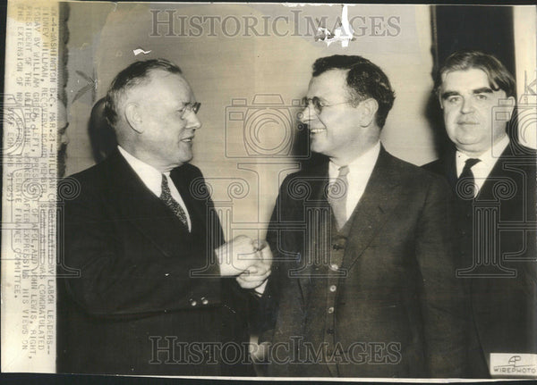 1945 Press Photo Labor Leaders Sidney Hillman, William Green and John Lewis - Historic Images