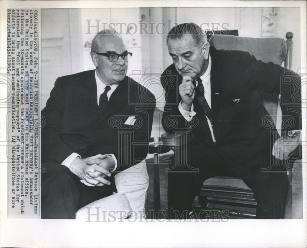 1965 Press Photo President Johnson & Ambassador Heinrich Knappstein - Historic Images