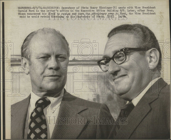1974 Press Photo State Henry Kissinger General Ford Washington Executive Office - Historic Images