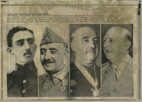 1975 Press Photo Generalissimo Francisco Franco Spain Toledo cadet school wore - Historic Images