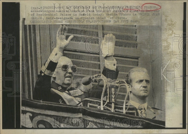 1975 Press Photo Francisco Franco y Bahamonde Spanish General Dictator - Historic Images