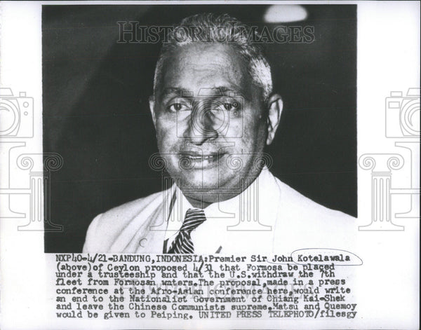 1955 Press Photo Sri Lanka Premier Sir John Kotelawala - Historic Images
