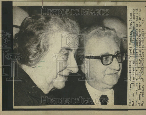 1973 Press Photo Israeli Premier Mrs. Golda Meir and Italian Pres Giovanni Leone - Historic Images
