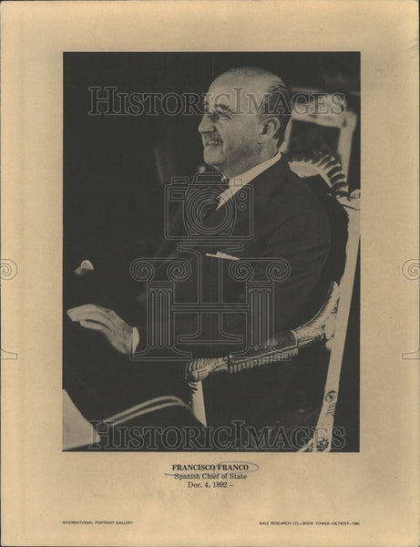 1968 Press Photo Francisco Franco Spanish Chief Of State - Historic Images