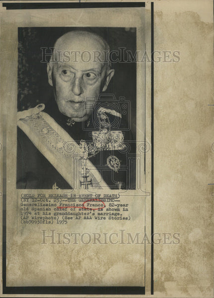 1974 Press Photo Generalissimo Francisco Franco, Spanish Chief Of State - Historic Images