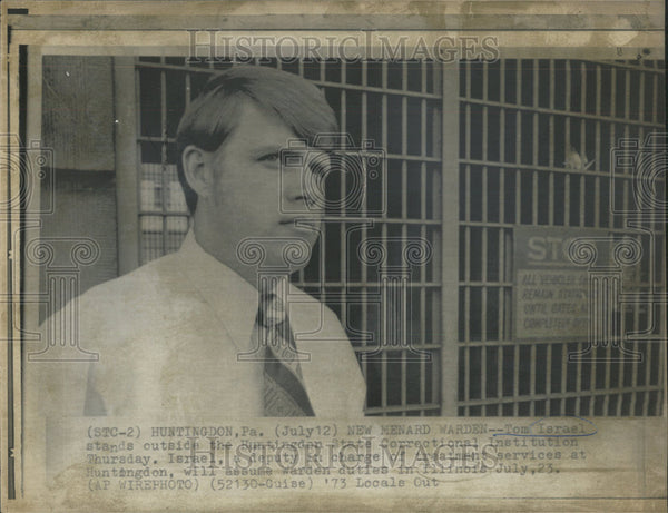 1973 Press Photo Tom Israel Huntingdon State Correctional Institution Warden - Historic Images