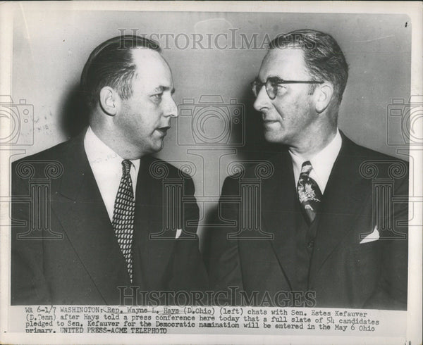 Press Photo Wayne Hays Estes Kefauver Press Conference Ohio Washington Chat - Historic Images