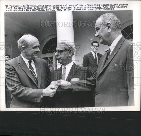 1965 Press Photo Washington President Johnson State Dean Rusk Goldberg Court - Historic Images