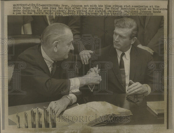 1967 Press Photo President Johnson Mayor John Lindsay Washington White House - Historic Images