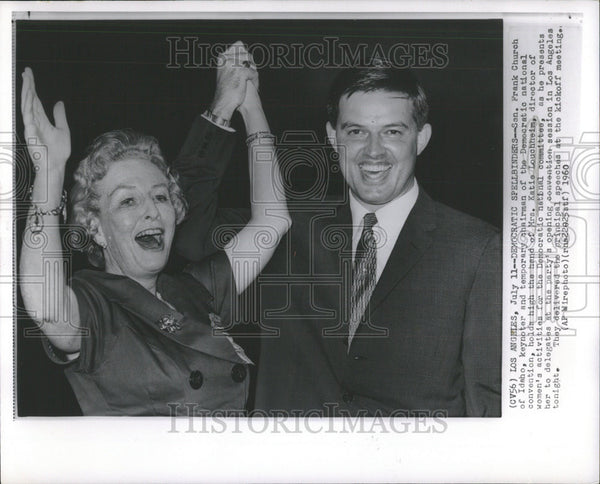 1960 Press Photo Senate Frank Church Idaho Katie Louchheim Los Angeles Committee - Historic Images