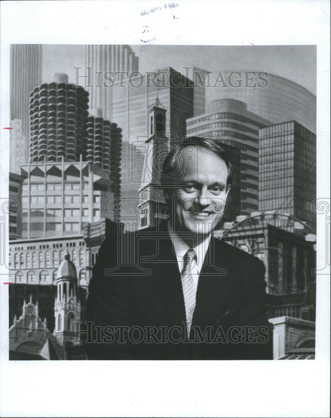 1985 Press Photo Dirk President Lohan Associates Architecture Construction - Historic Images