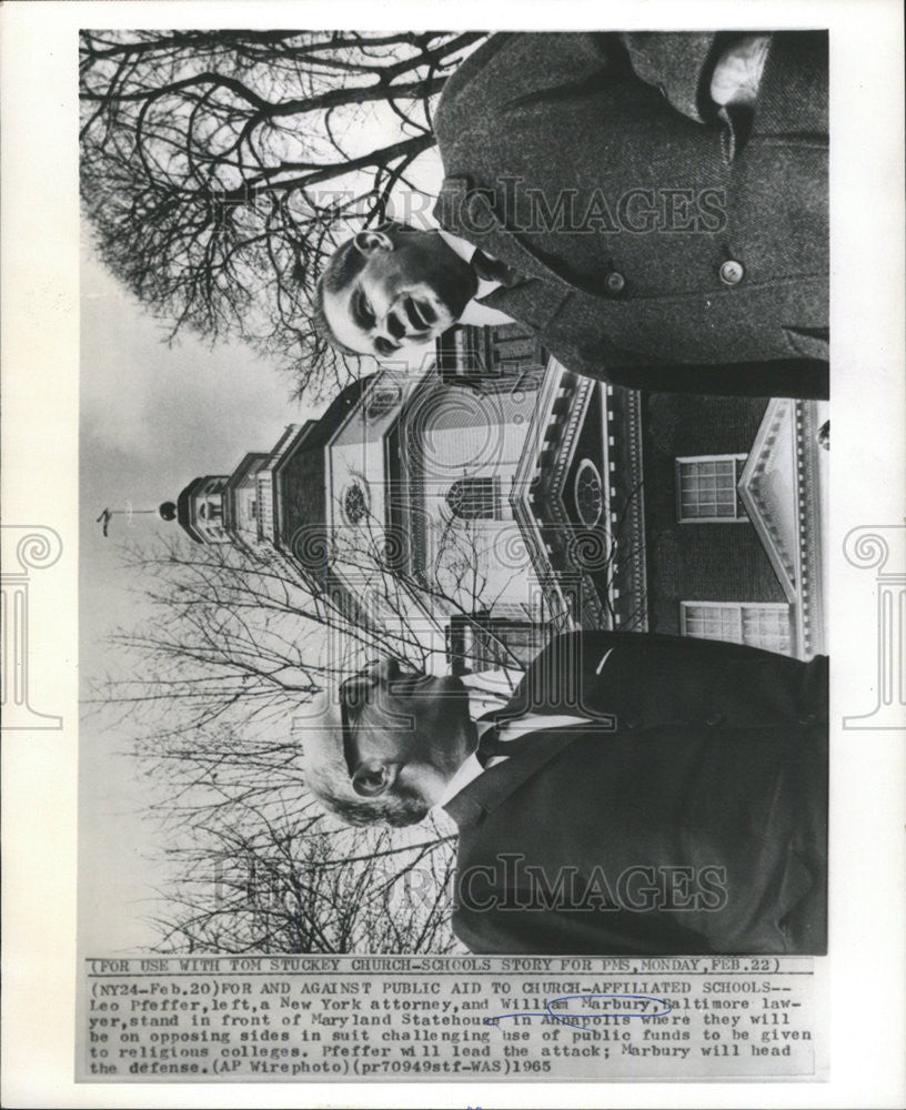 1965 Press Photo William Marbury New York attorney in front of Maryland Statehou - Historic Images