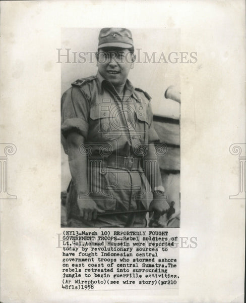 1958 Press Photo Rebel Soldiers of Achmad Hussein Were Reported by Sources - Historic Images