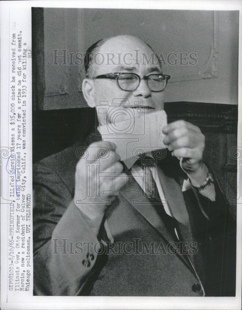 1965 Press Photo Ted Marcin Illinois Government Otto Kernerfor crime commit - Historic Images