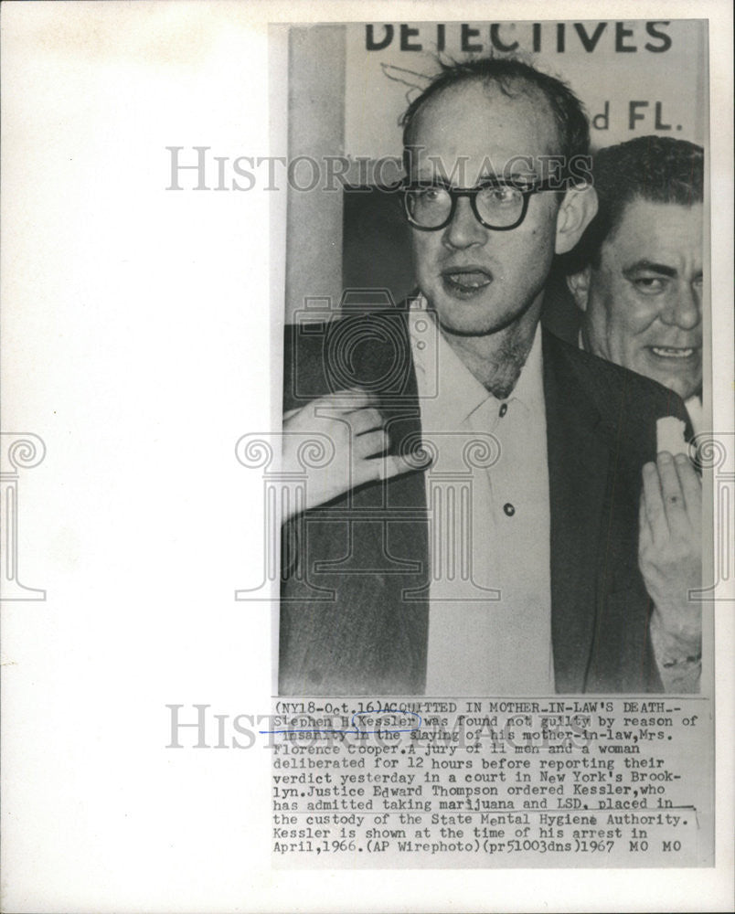 1967 Press Photo Stephen H. Kessler found not guilty by reason of insanity - Historic Images
