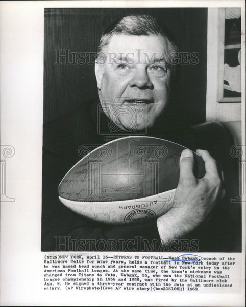 1963 Press Photo Weeb Ewbank Baltimore Colts Coach - Historic Images