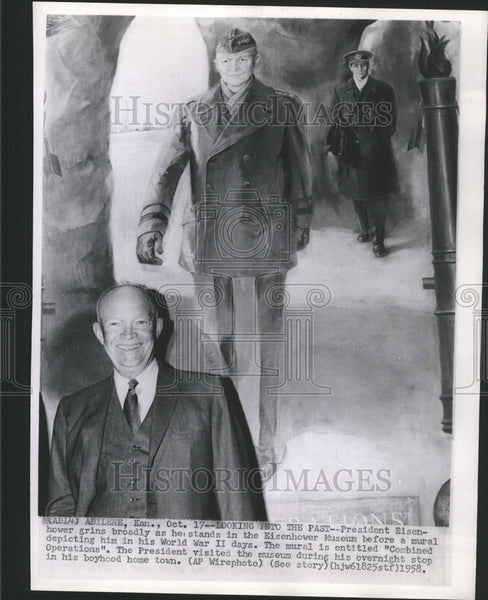1958 Press Photo President Eisenhower, Eisenhower Museum - Historic Images
