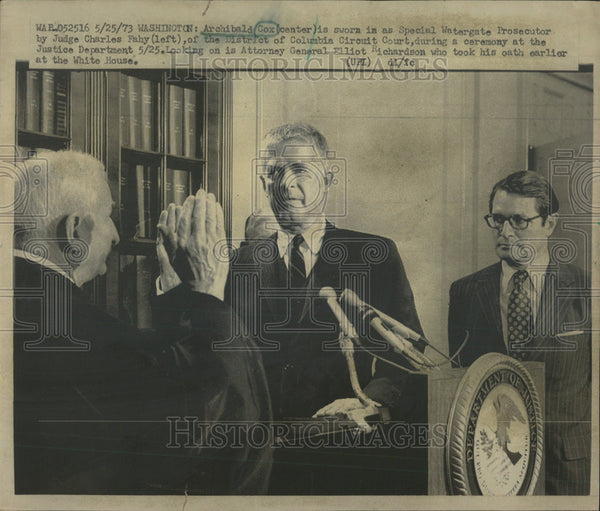 1973 Press Photo Archibald Cox Special Watergate Prosecutor Lawyer - Historic Images