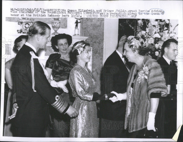 1957 Press Photo Washington Queen Elizabeth Prince Philip Bertha Adkins National - Historic Images