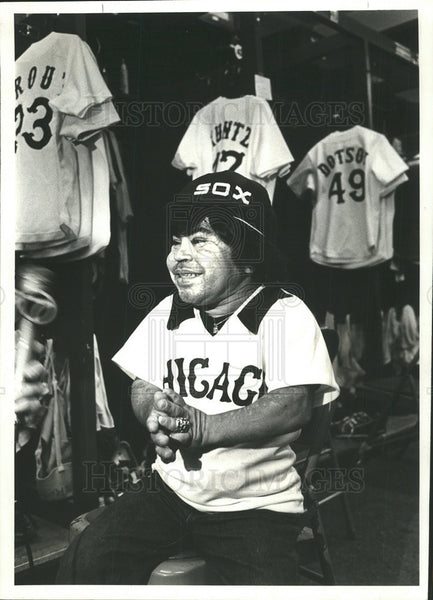 "1980 Press Photo Herve ""Tattoo"" Villechaize puts on a Sox jersey. - Historic Images"