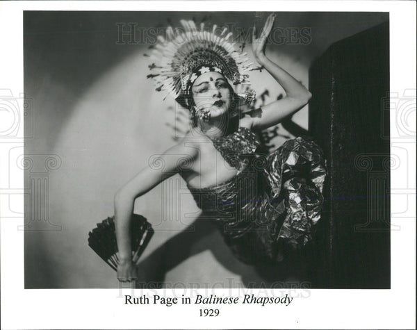 1929 Press Photo Ruth Page Balinese Rhapsody Dance Snap Black Dress Pose - Historic Images