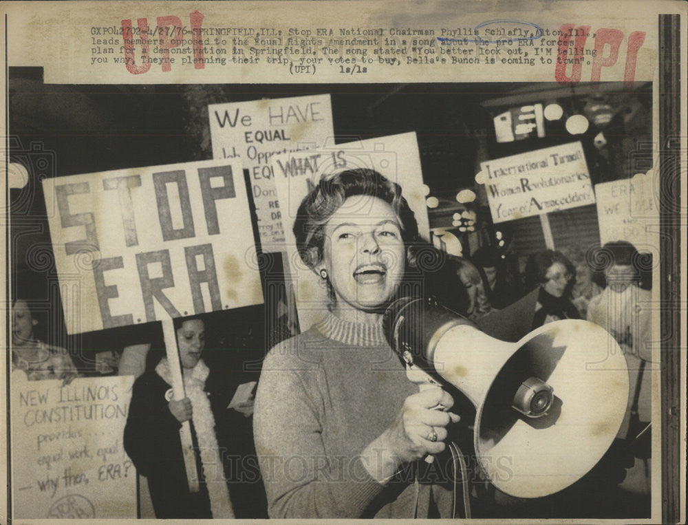 1976 Press Photo Phyllis Schlafly Era Chairman leads rally - Historic Images