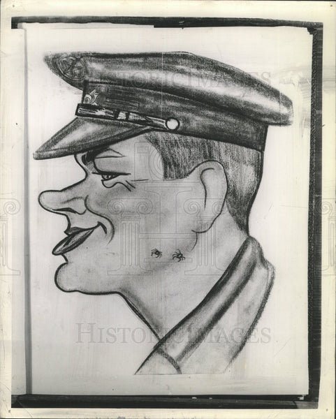 1939 Press Photo Caricature Of Major Frank Rogers - Historic Images