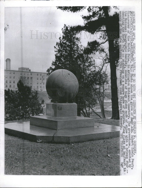 1963 Press Photo Robert Edwin Peary North Pole Arlington National Cemetery - Historic Images