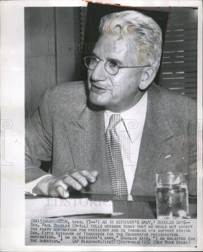 1952 Press Photo Sen. Paul Douglas - Historic Images