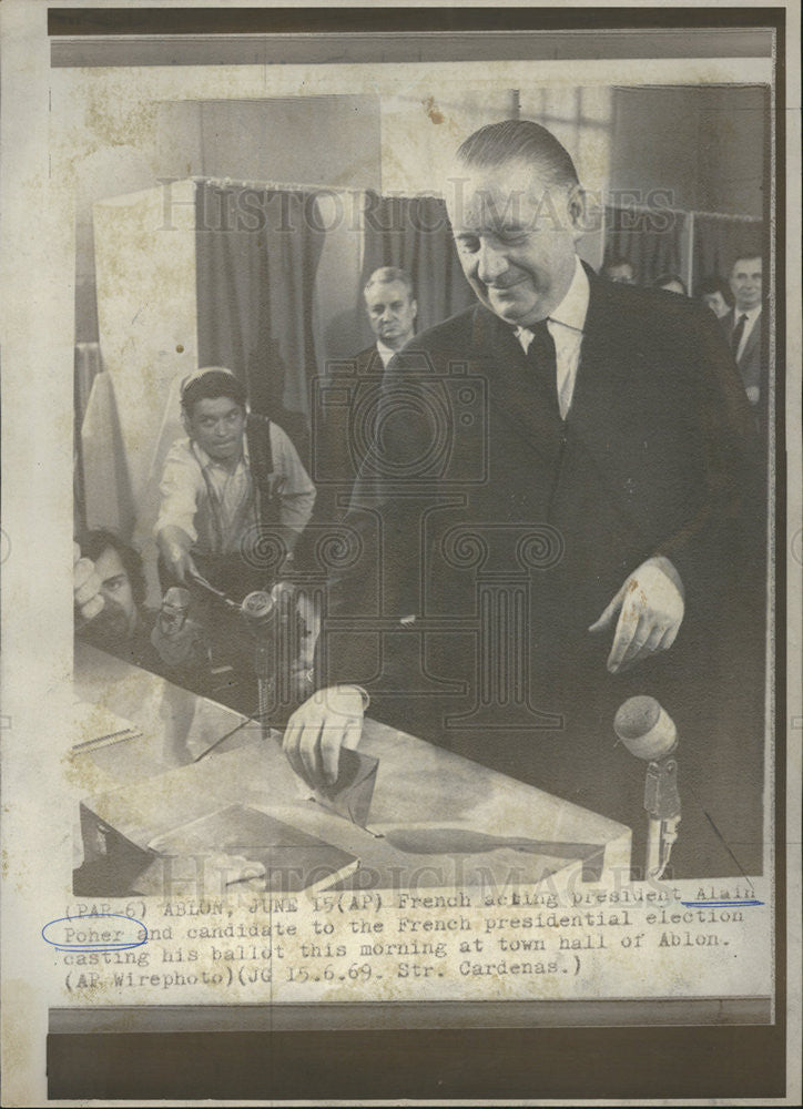 1969 Press Photo French acting president Poher and candidate for president - Historic Images